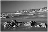 McClures Beach, afternoon. Point Reyes National Seashore, California, USA ( black and white)
