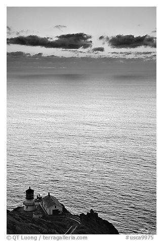 Point Reyes Lighthouse, sunset. Point Reyes National Seashore, California, USA (black and white)