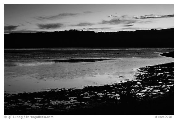 Bolinas Lagoon, sunset. California, USA (black and white)