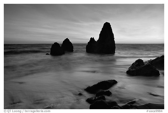 Seastacks, Rodeo Beach, Sunset. California, USA (black and white)