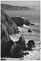 Cliffs and Point Bonita Lighthouse, late afternoon. California, USA ( black and white)