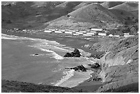 Fort Cronkhite and Rodeo Beach, late afternoon. California, USA (black and white)