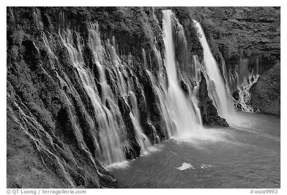 Burney Falls, McArthur-Burney Falls Memorial State Park. California, USA (black and white)