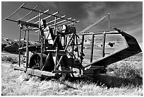 Wooden agricultural machine. California, USA ( black and white)