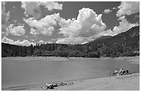 Family on the shore of Shasta Lake. California, USA (black and white)