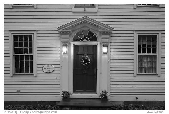 Facade of historic house, Essex. Connecticut, USA (black and white)