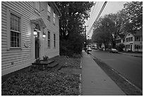 Main street at dusk, Essex. Connecticut, USA ( black and white)