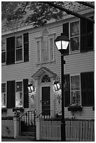 Facade and street light and dusk, Essex. Connecticut, USA ( black and white)