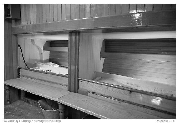 Sleeping berth on historic ship. Mystic, Connecticut, USA (black and white)
