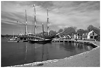 Historic harbor and tall ship. Mystic, Connecticut, USA ( black and white)