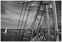 Aboard the Charles Morgan ship. Mystic, Connecticut, USA ( black and white)