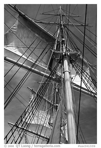 Masts and sails of Charles W Morgan historic ship. Mystic, Connecticut, USA (black and white)