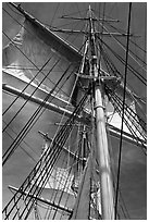 Masts and sails of Charles W Morgan historic ship. Mystic, Connecticut, USA ( black and white)