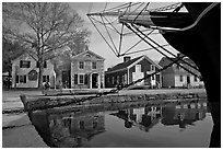 Ship and historic buildings. Mystic, Connecticut, USA ( black and white)