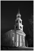 First Congregational Church (1665) at night, Old Lyme. Connecticut, USA ( black and white)