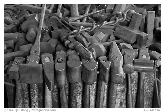 Tools in shipsmith shop. Mystic, Connecticut, USA (black and white)