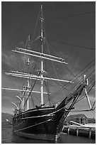 Charles W Morgan historic wooden whaleship. Mystic, Connecticut, USA ( black and white)