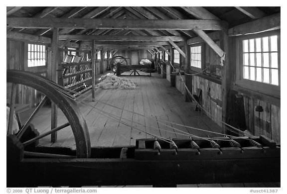 Fibers being spun into yards, Ropewalk. Mystic, Connecticut, USA (black and white)