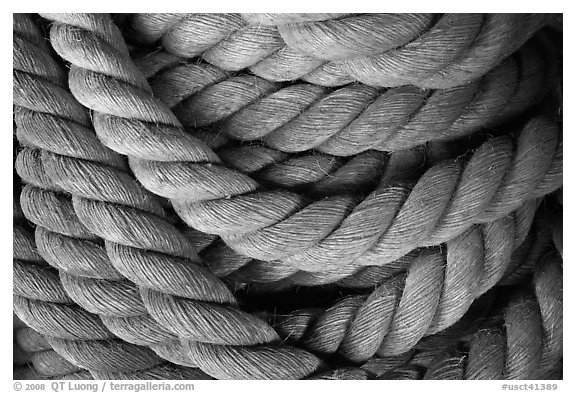 Detail of marine rope. Mystic, Connecticut, USA (black and white)