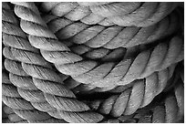 Detail of marine rope. Mystic, Connecticut, USA ( black and white)