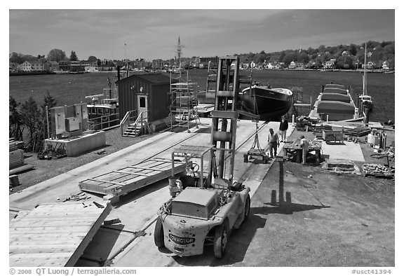 Shipyard. Mystic, Connecticut, USA (black and white)