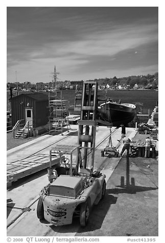 Boat being built at shiplift. Mystic, Connecticut, USA (black and white)
