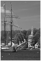 Tall ship and white steepled church. Mystic, Connecticut, USA ( black and white)