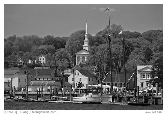 Pier, village and church. Mystic, Connecticut, USA (black and white)