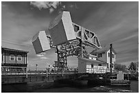 Counterweights of the Mystic River drawbridge. Mystic, Connecticut, USA ( black and white)