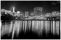 Skyline of Hartford reflected in Connecticut River at night. Hartford, Connecticut, USA ( black and white)
