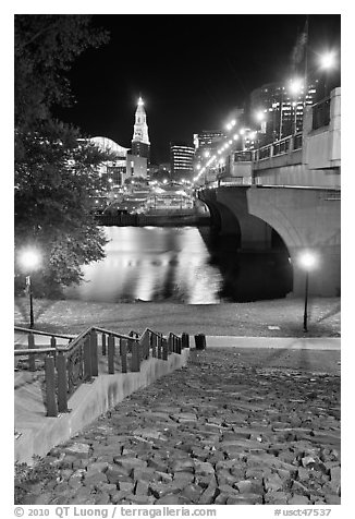 Quay by Connecticut River and nighttime skyline. Hartford, Connecticut, USA (black and white)