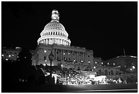 Live concert on the steps of the Capitol at night. Washington DC, USA (black and white)