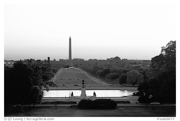 The National Mall and Washington monument seen from the Capitol, sunset. Washington DC, USA (black and white)