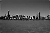 Skyline of the city above Lake Michigan, morning. Chicago, Illinois, USA (black and white)