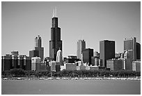 Chicago Skyline, morning. Chicago, Illinois, USA (black and white)
