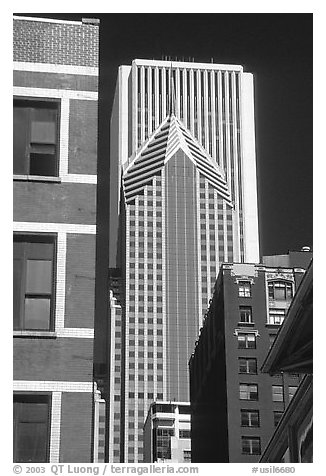 Buildings in downtown. Chicago, Illinois, USA (black and white)