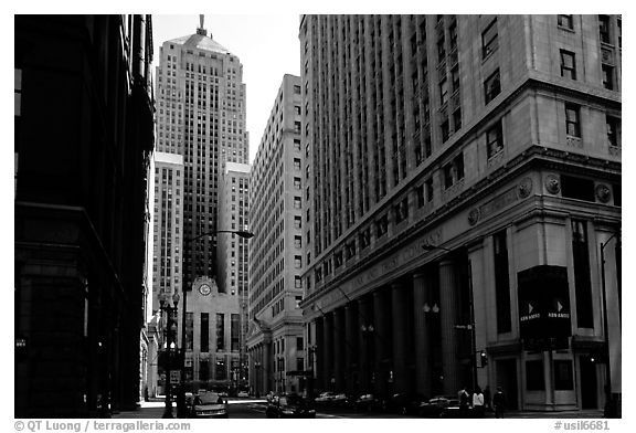Chicago board of exchange amongst high rises buildings. Chicago, Illinois, USA (black and white)