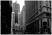Chicago board of exchange amongst high rises buildings. Chicago, Illinois, USA ( black and white)