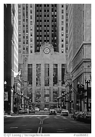Chicago board of exchange. Chicago, Illinois, USA (black and white)