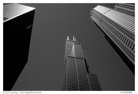 Upwards view of sears tower framed by other skyscrappers. Chicago, Illinois, USA (black and white)