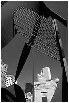 Public sculpture and buildings. Chicago, Illinois, USA ( black and white)