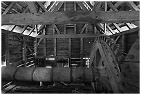 Waterwheel shaft inside forge, Saugus Iron Works National Historic Site. Massachussets, USA (black and white)