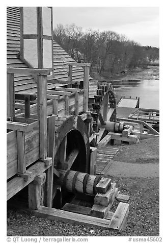 Forge building and river, Saugus Iron Works National Historic Site. Massachussets, USA (black and white)