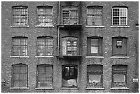 Brick facade of industrial building, Saugus. Massachussets, USA (black and white)