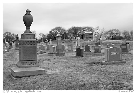 Tombstones in open cemetery space. Salem, Massachussets, USA (black and white)