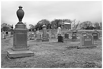 Tombstones in open cemetery space. Salem, Massachussets, USA ( black and white)