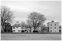 Row of pastel houses. Salem, Massachussets, USA ( black and white)