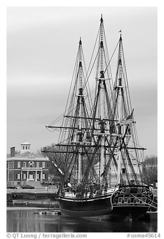 Square rigged East Indiaman Friendship, Salem Maritime National Historic Site. Salem, Massachussets, USA (black and white)