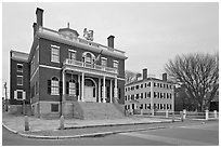 Custom House and Hawkes House, Salem Maritime National Historic Site. Salem, Massachussets, USA ( black and white)
