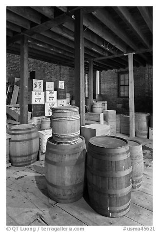 Goods inside public stores warehouse, Salem Maritime National Historic Site. Salem, Massachussets, USA (black and white)